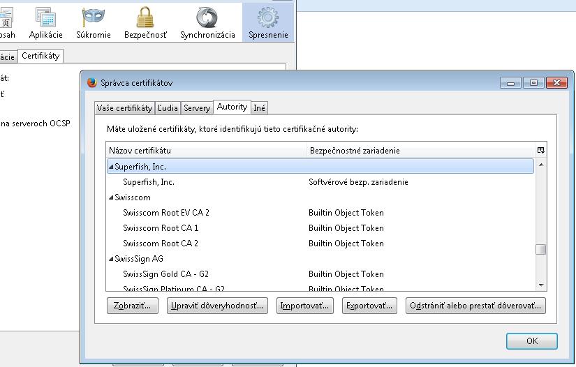 SuperFish VisualDiscovery - Lenovo Adware - Windows Firefox certifikát