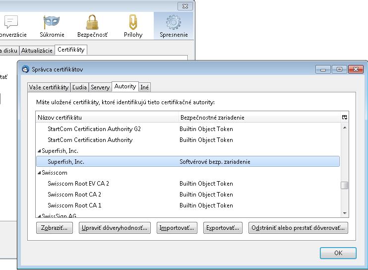 SuperFish VisualDiscovery - Lenovo Adware - Windows Thunderbird certifikát