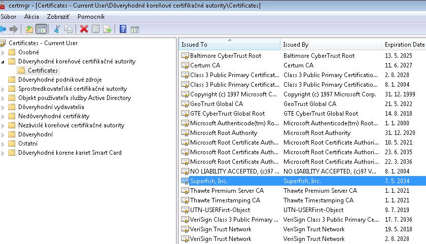SuperFish VisualDiscovery - Lenovo Adware - Windows Certificates