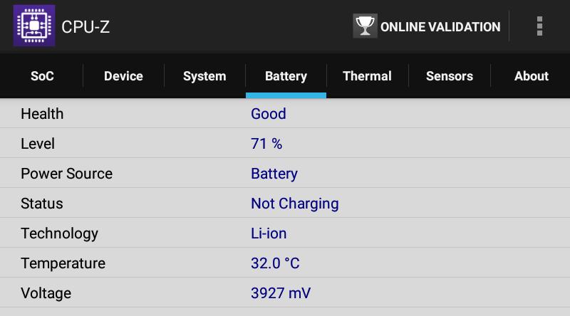 Lenovo TAB 2 A8-50F CPU-Z Battery