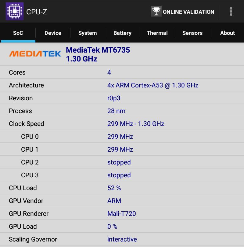 Lenovo TAB 2 A8-50F CPU-Z SoC