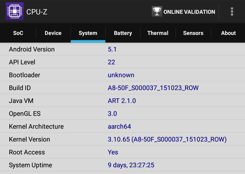 Lenovo TAB 2 A8-50F CPU-Z System