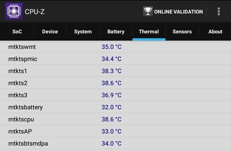 Lenovo TAB 2 A8-50F CPU-Z Thermal