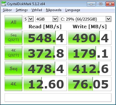 Toshiba HG6 256GB (THNSNJ256GVNU) SSD M.2 * CrystalDiskMark Test Size: 4GiB